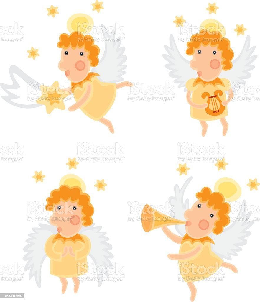 christmas angels vector art illustration
