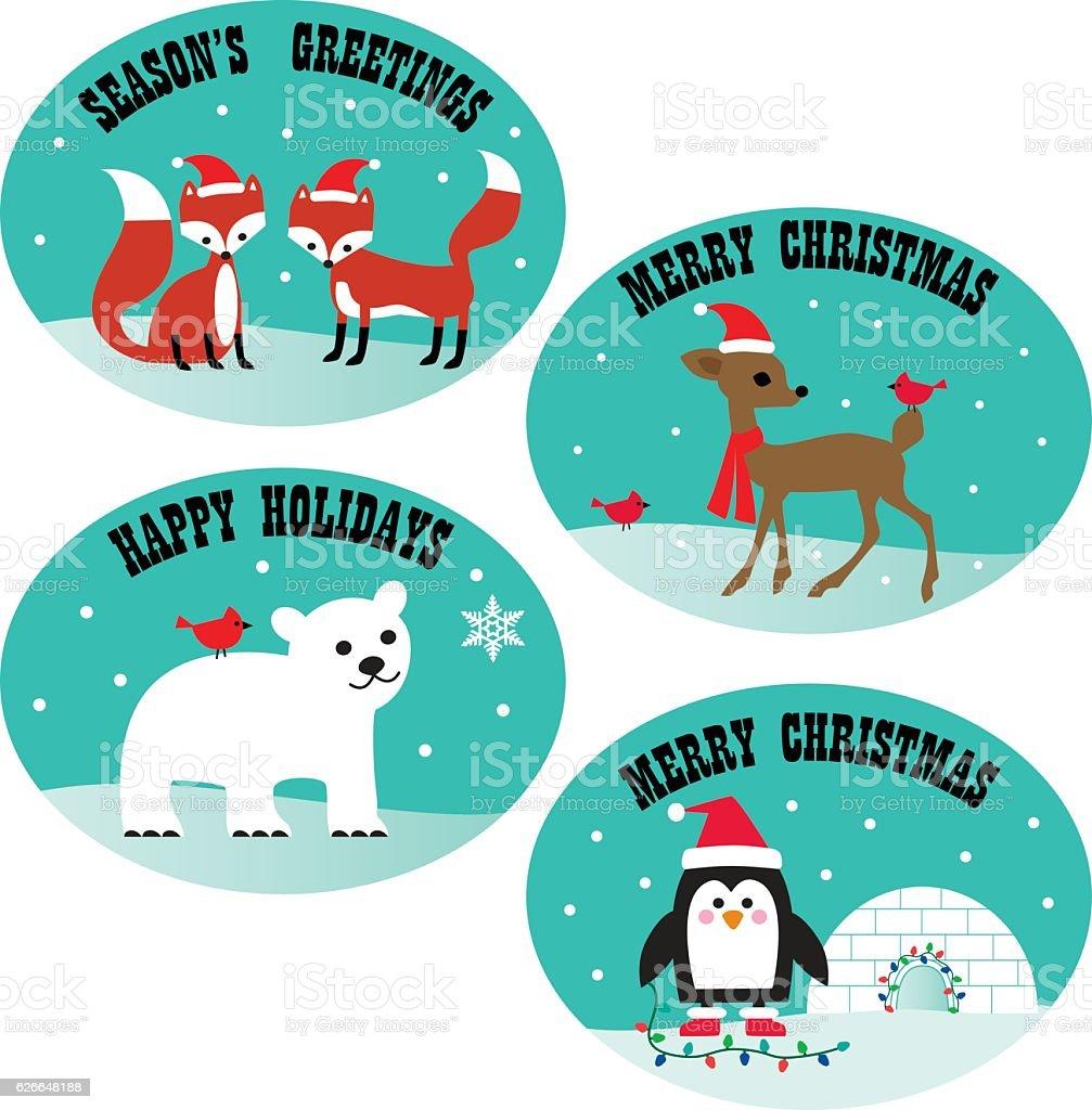 christmas animals vector art illustration