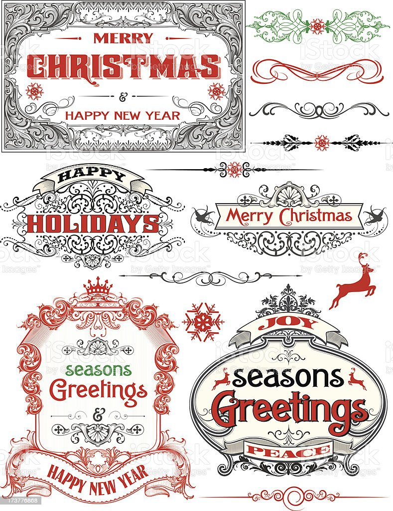 Christmas Antique Frame Labels royalty-free stock vector art