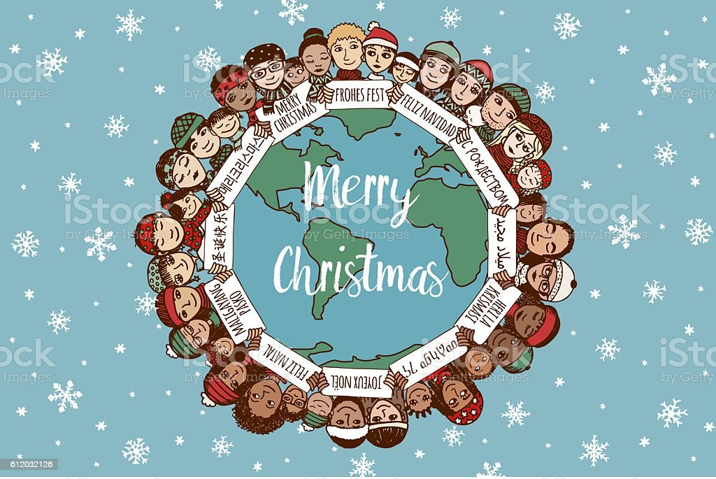 Christmas around the world vector art illustration