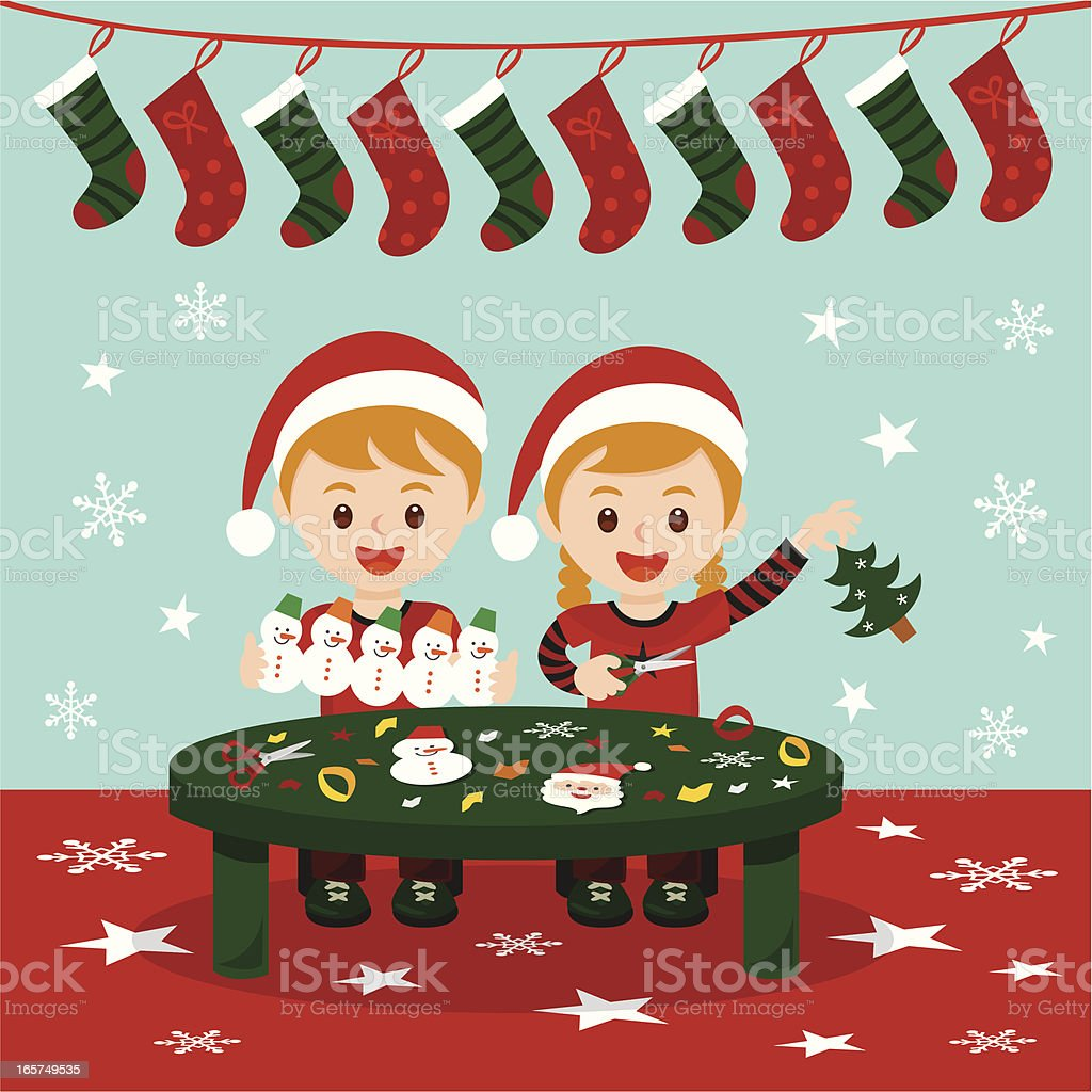 Christmas art and craft fun royalty-free stock vector art