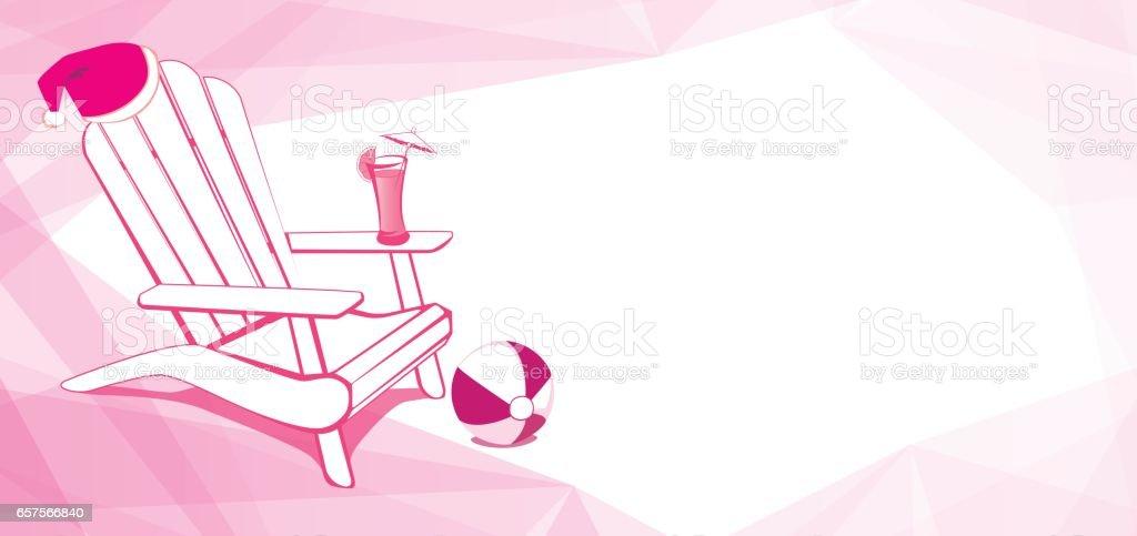 Christmas at beach. Adirondack Beach chair vector art illustration