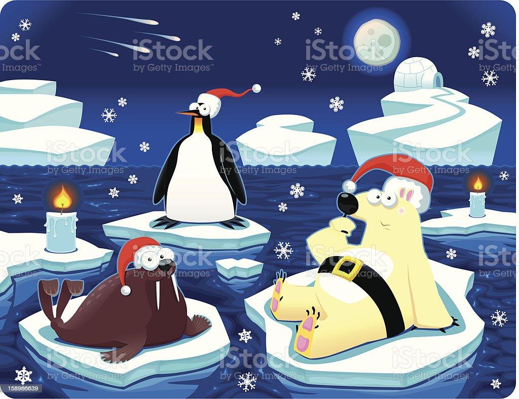 Christmas at the North Pole royalty-free stock vector art