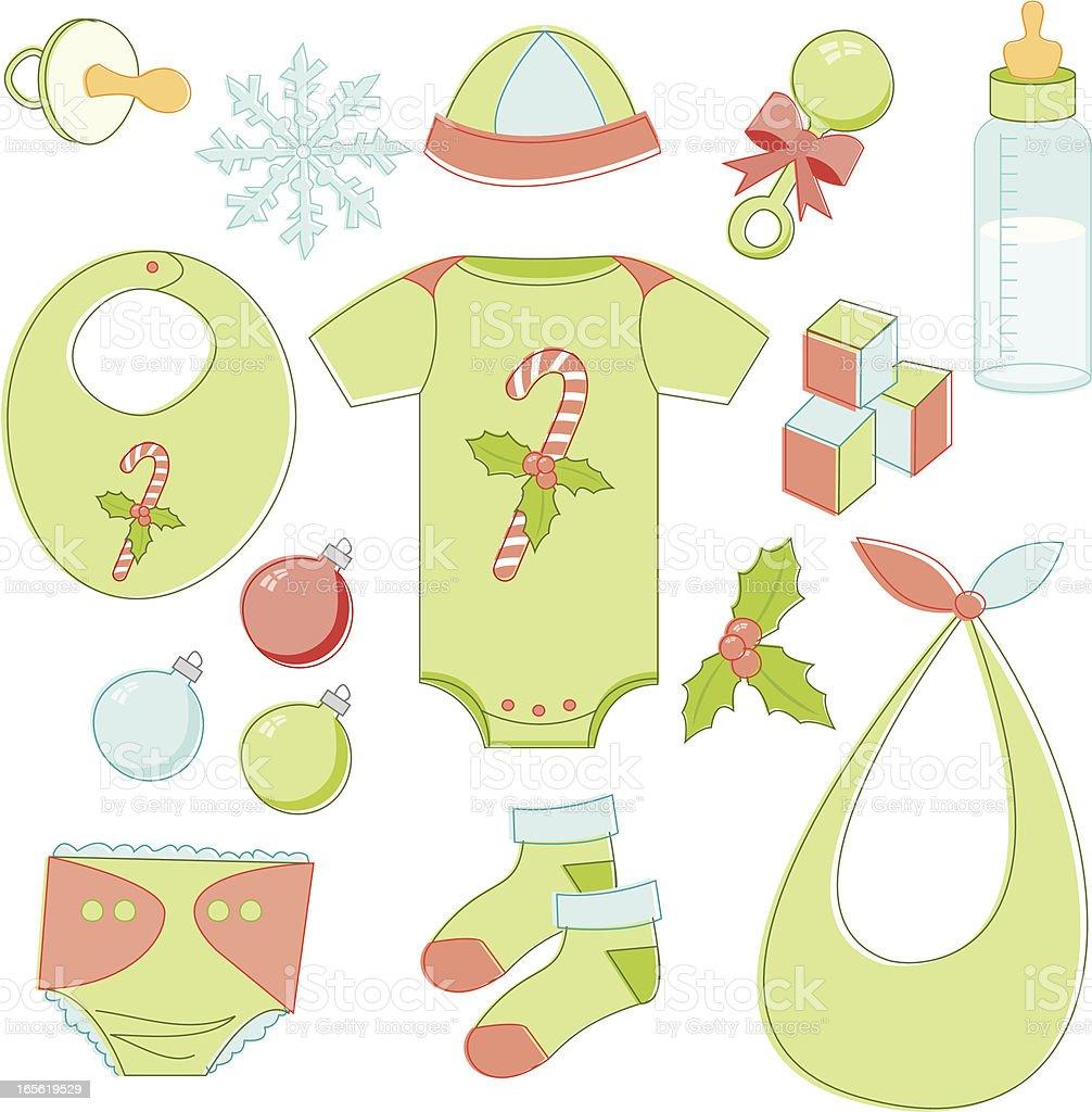 Christmas Baby Essentials vector art illustration