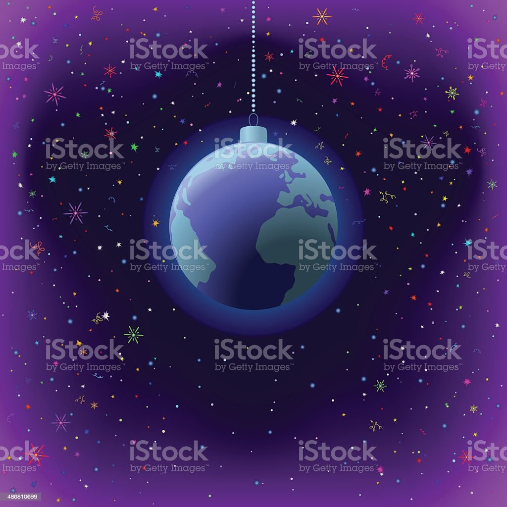 Christmas background, Earth in space royalty-free stock vector art