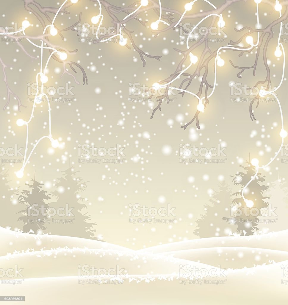 Christmas background in sepia tone, winter landscape with small electric vector art illustration