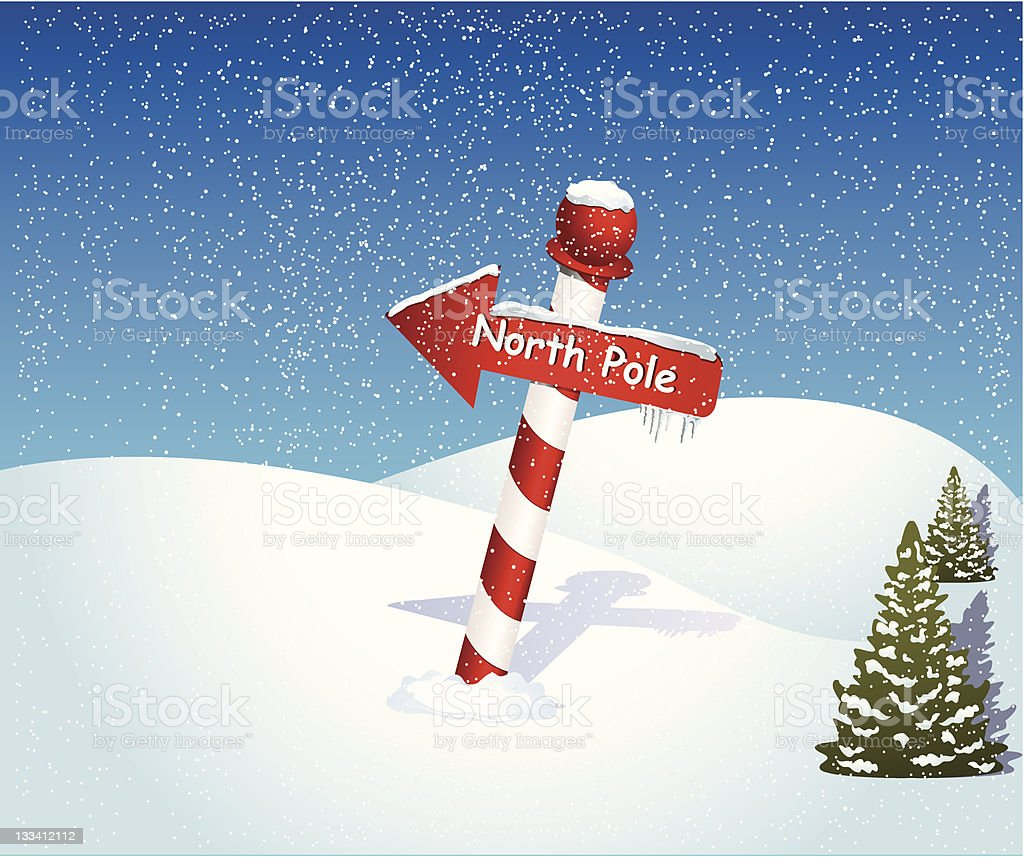 Christmas background of North Pole sign in snow vector art illustration