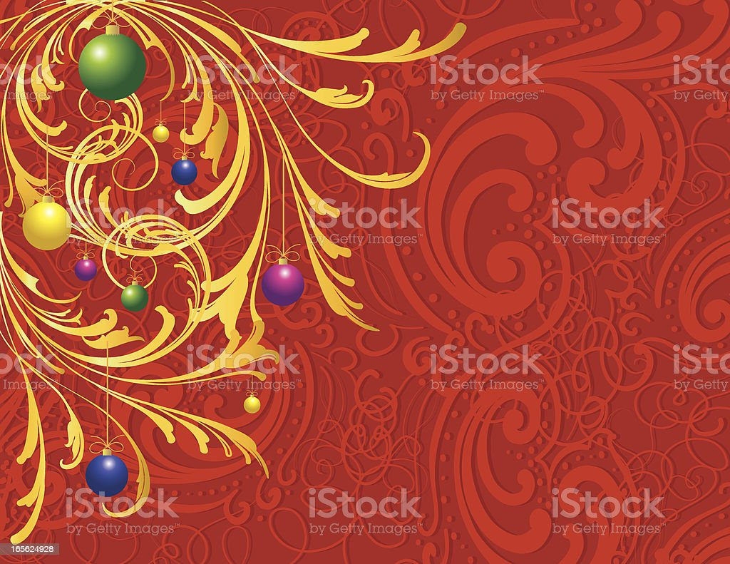 Christmas Background ornaments and scrollwork vector art illustration