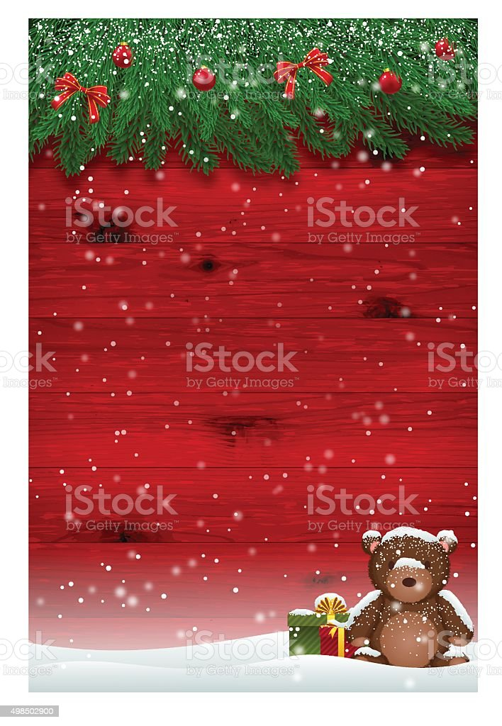 Christmas background [Red wooden wall with the fir tree] vector art illustration