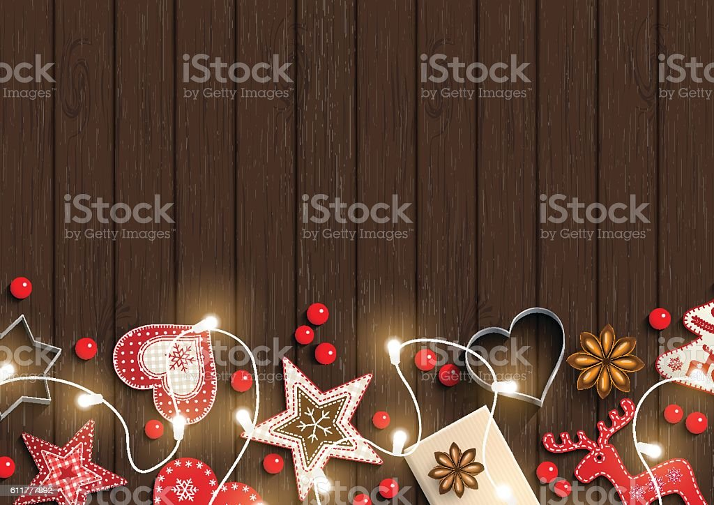 Christmas background, small scandinavian styled decorations lying on dark brown vector art illustration