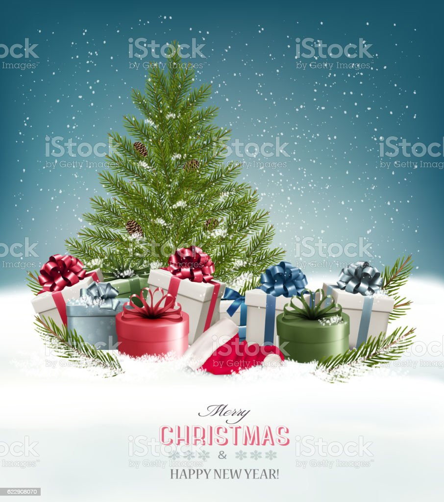 Christmas background with a christmas tree and presents. Vector. vector art illustration