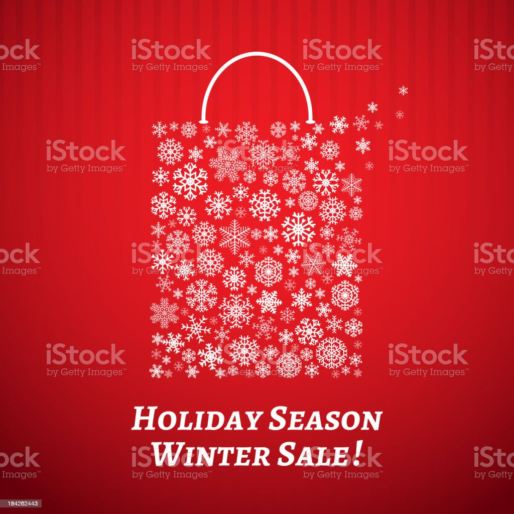 Christmas background with a shopping bag of snowflakes vector art illustration