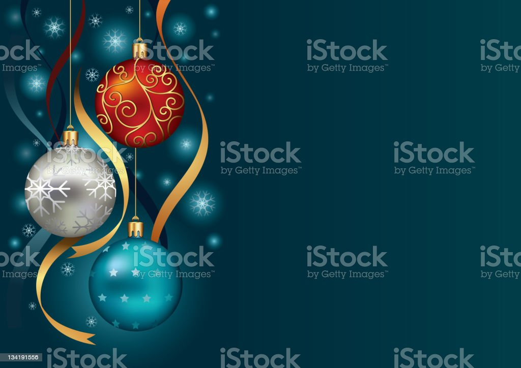 Christmas background with baubles and snow royalty-free stock vector art