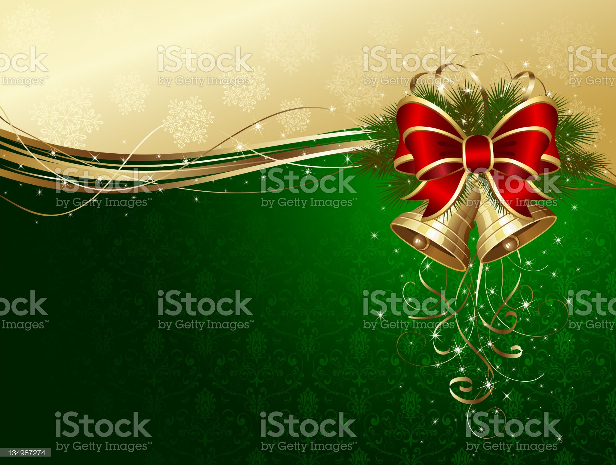 Christmas background with bells and decorative bow royalty-free stock vector art