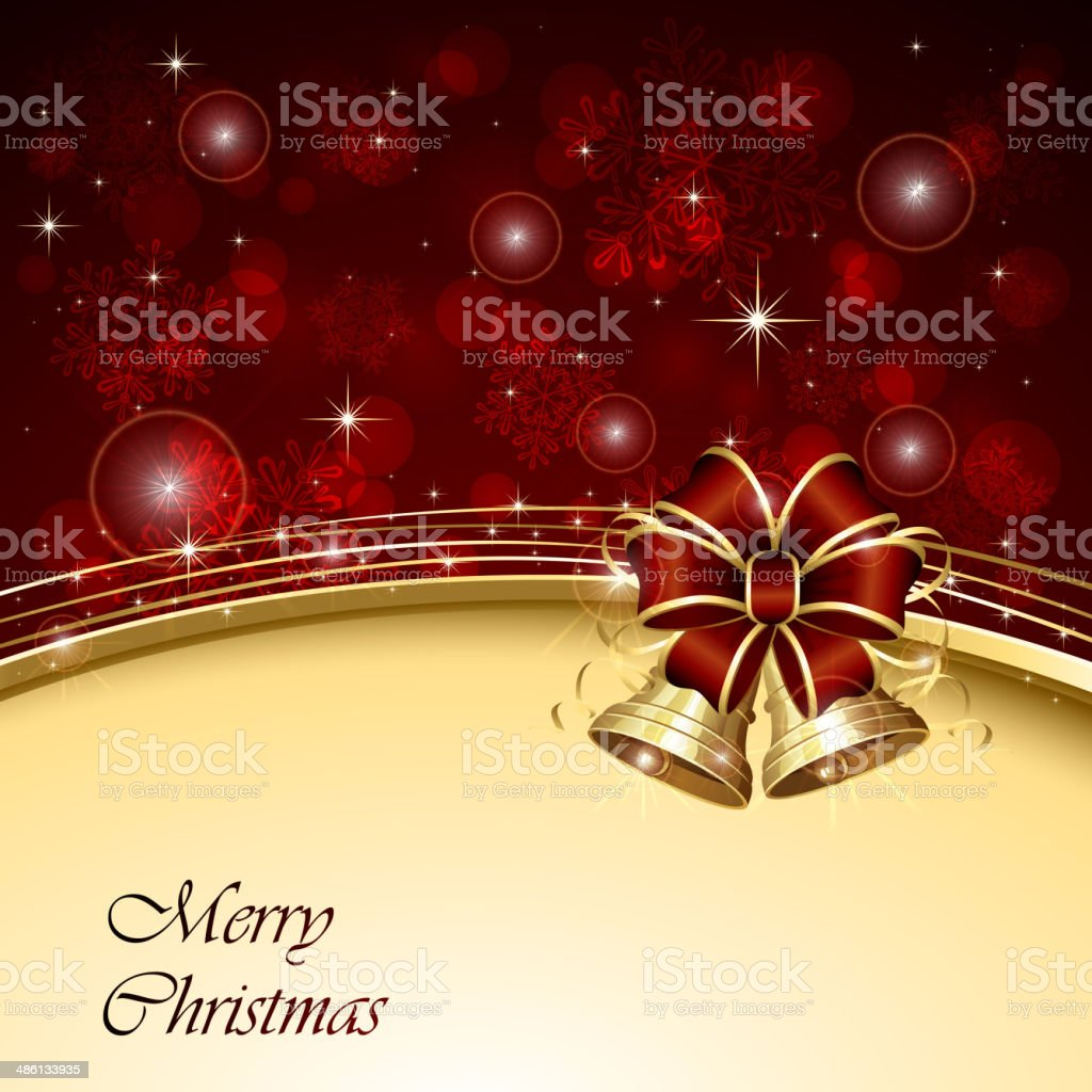 Christmas background with bells vector art illustration