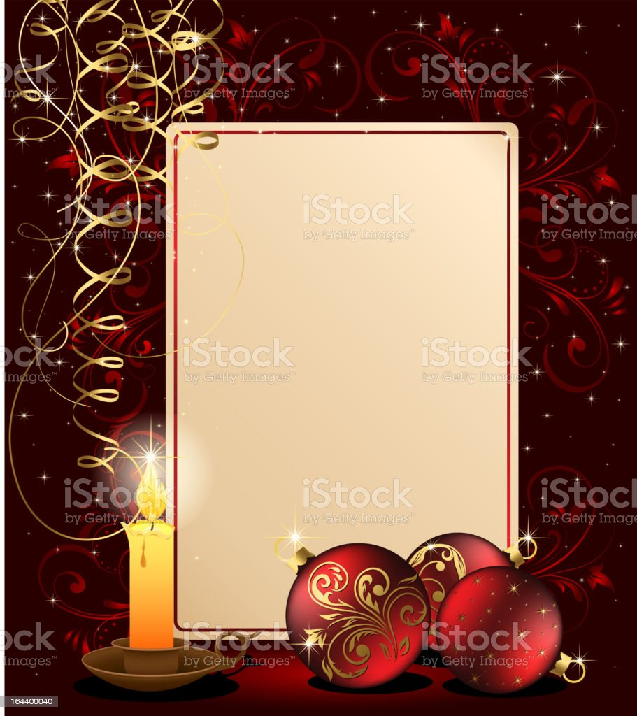 Christmas background with candle royalty-free stock vector art