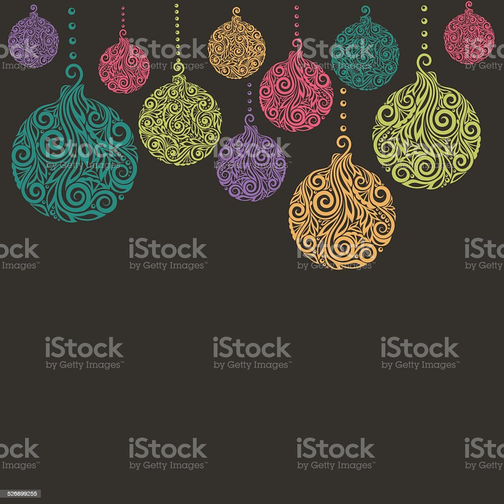 Christmas background with Christmas balls Hanging . Great for greeting cards vector art illustration