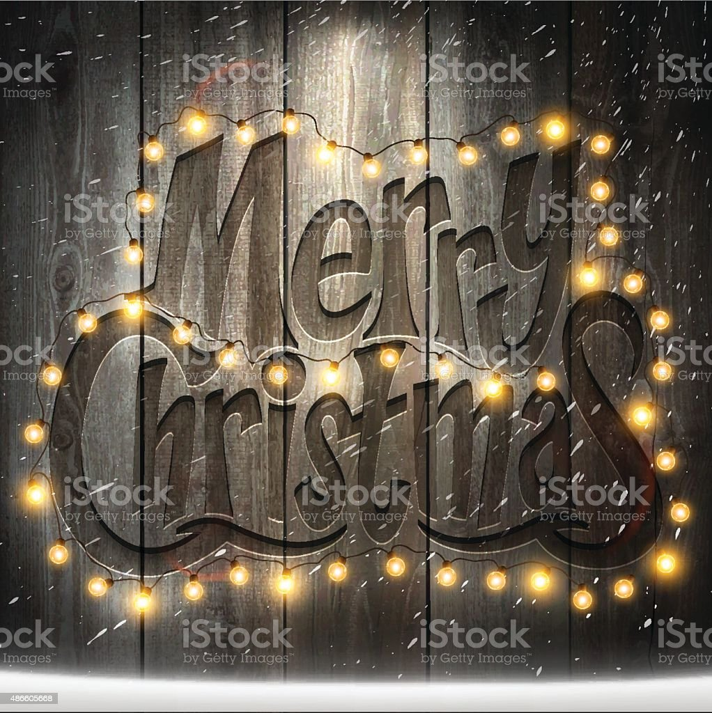 Christmas Background with Christmas lights and snow on wooden Wall vector art illustration