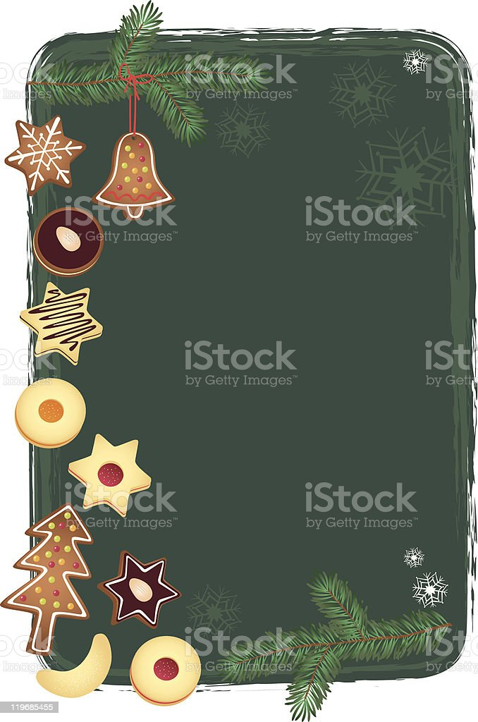 Christmas background with cookies vector art illustration