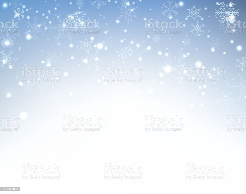 Christmas background with crystallic snowflakes. vector art illustration