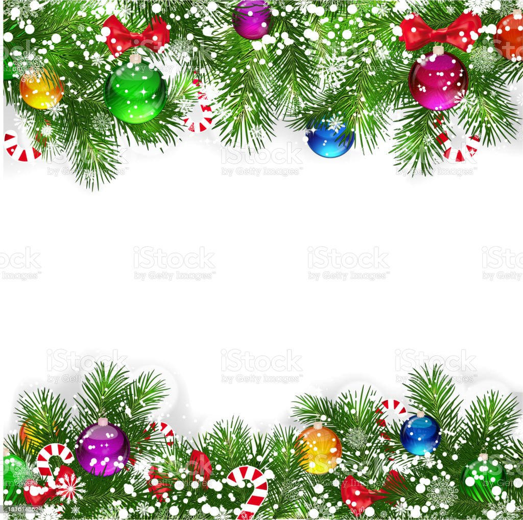 Christmas background with decorated branches vector art illustration