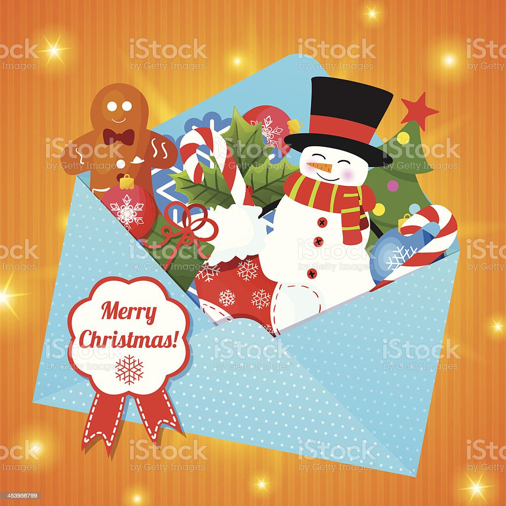 Christmas Background with envelope royalty-free stock vector art