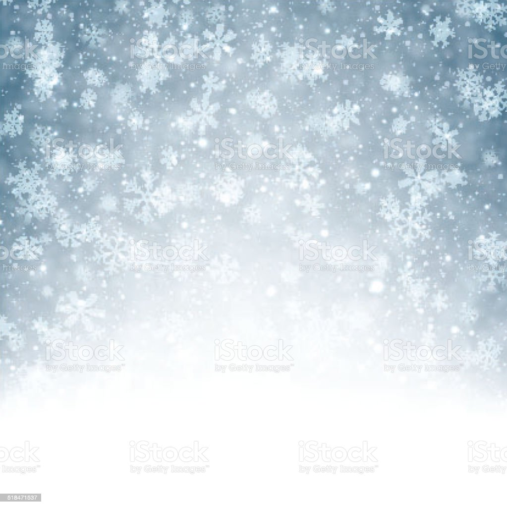 Christmas background with fallen snowflakes. vector art illustration