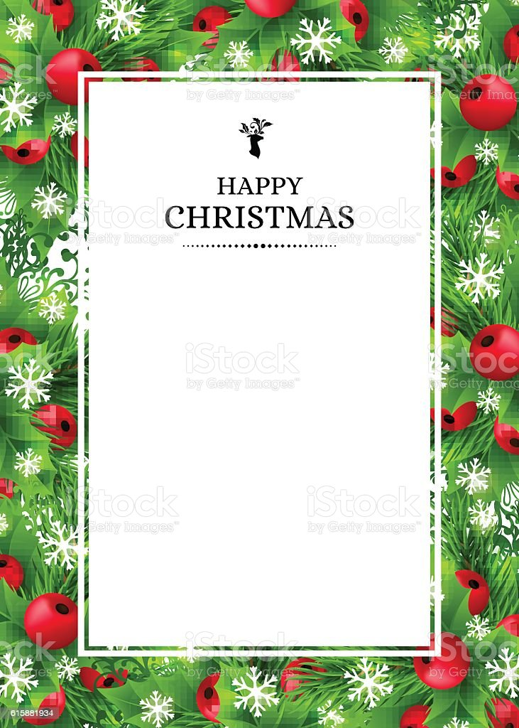 Christmas background with fir and holly decorations vector art illustration