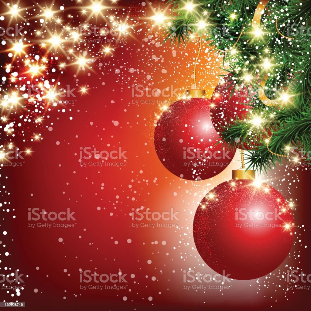 A Christmas background with glimmering red ornaments royalty-free stock vector art
