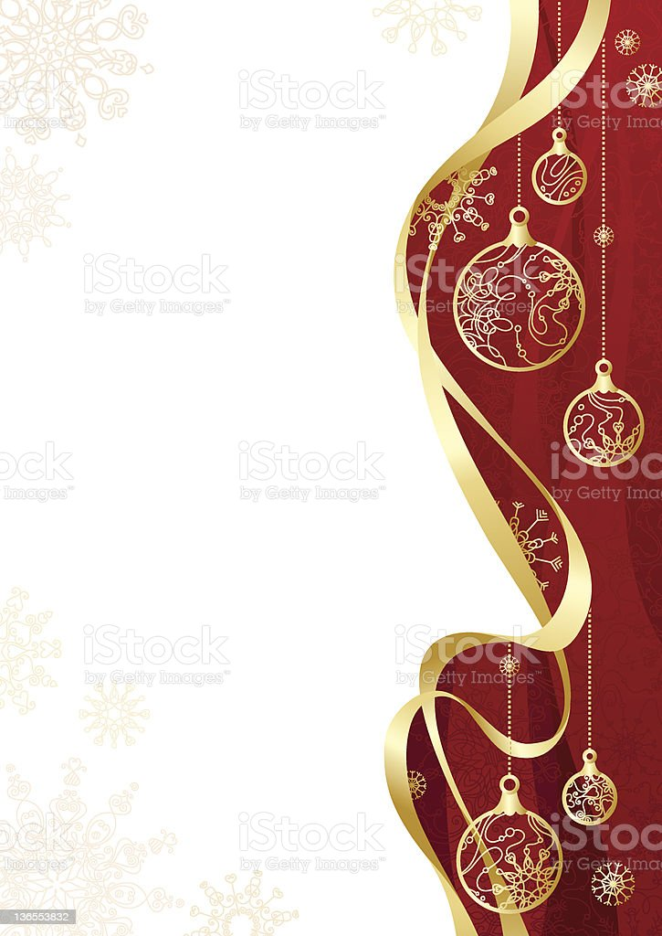 Christmas background with gold ribbon royalty-free stock vector art