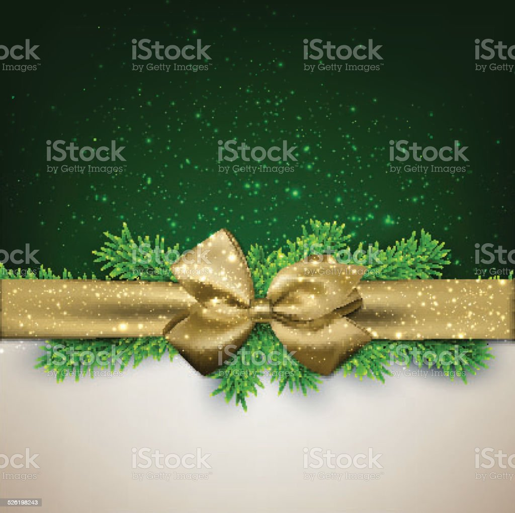 Christmas background with golden bow. vector art illustration