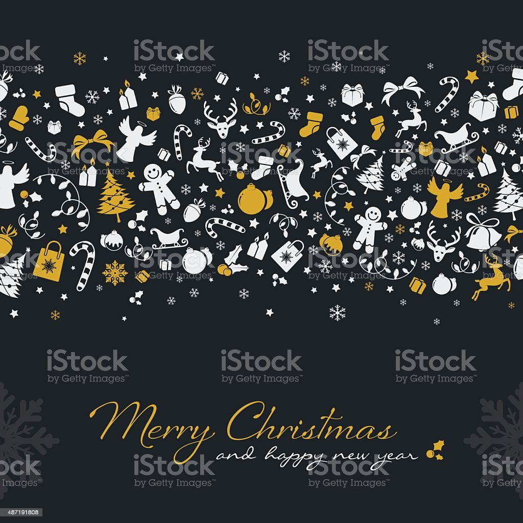 Christmas background with golden icons vector art illustration
