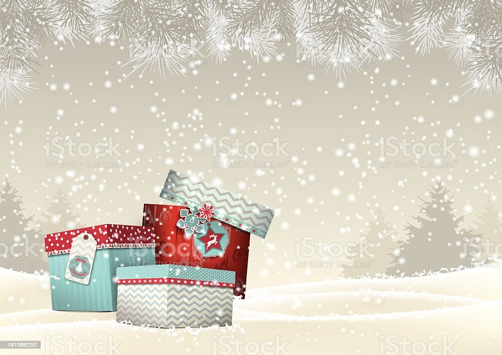 Christmas background with group of colorful giftboxes, illustration vector art illustration