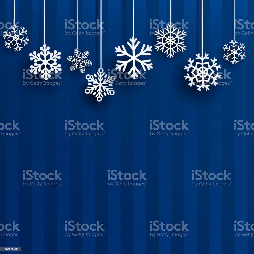 Christmas background with hanging snowflakes vector art illustration