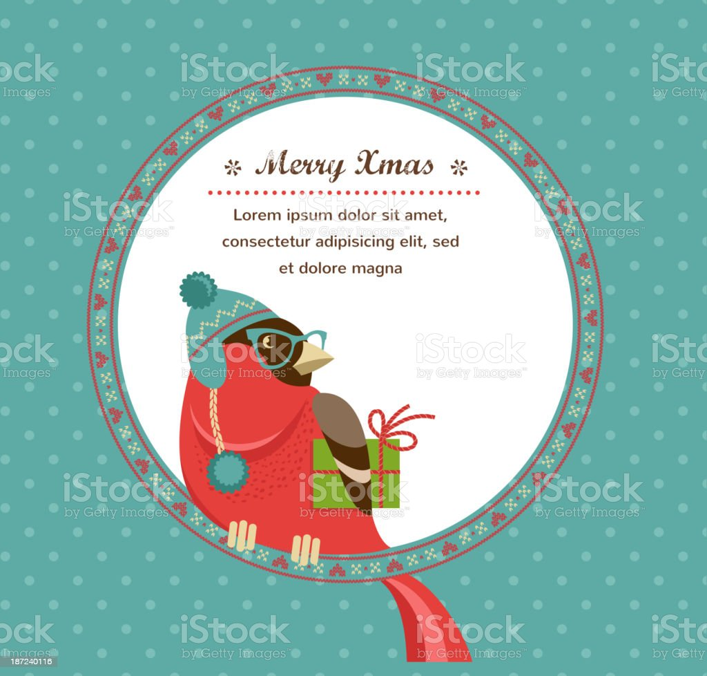 Christmas background with hipster bullfinch vector art illustration