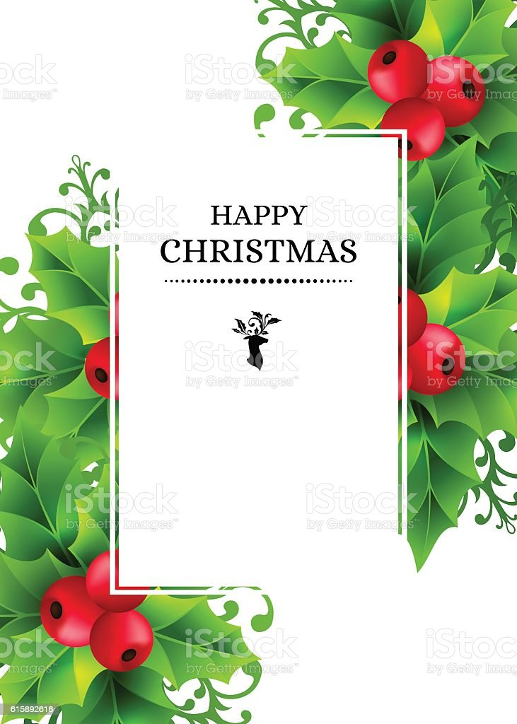 Christmas background with holly leaves decorations vector art illustration