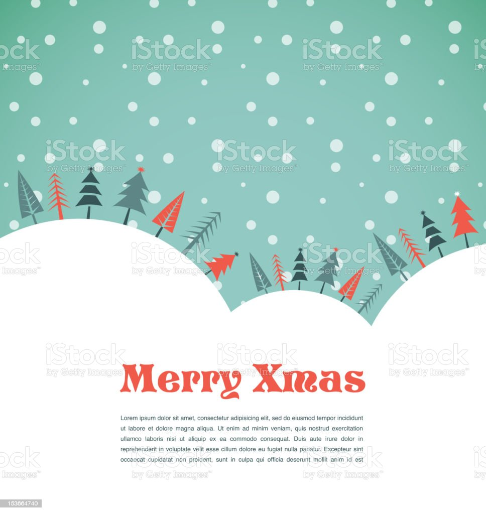 Christmas background with homes and birds vector art illustration