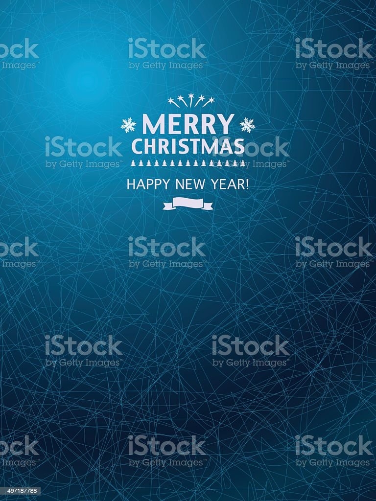 Christmas Background with icy blue pattern. vector art illustration