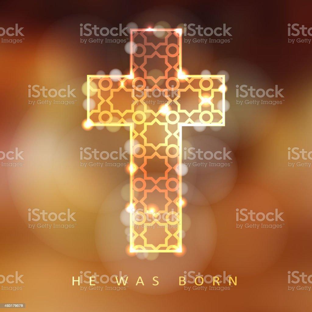 Christmas background with illuminated ornamental cross, christian concept, vector vector art illustration