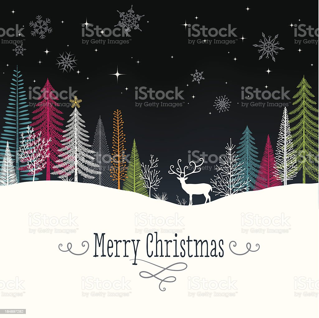Christmas Background with Reindeer vector art illustration