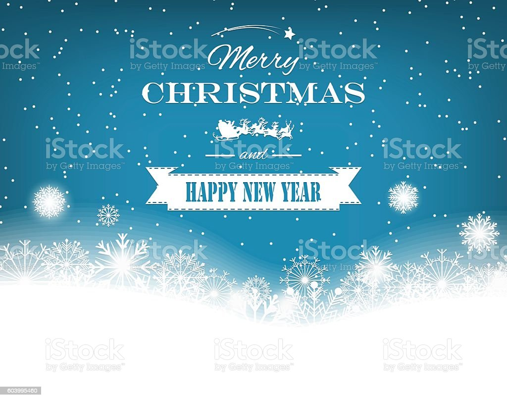Christmas background with retro badge and snowflakes. Vector royalty-free stock vector art