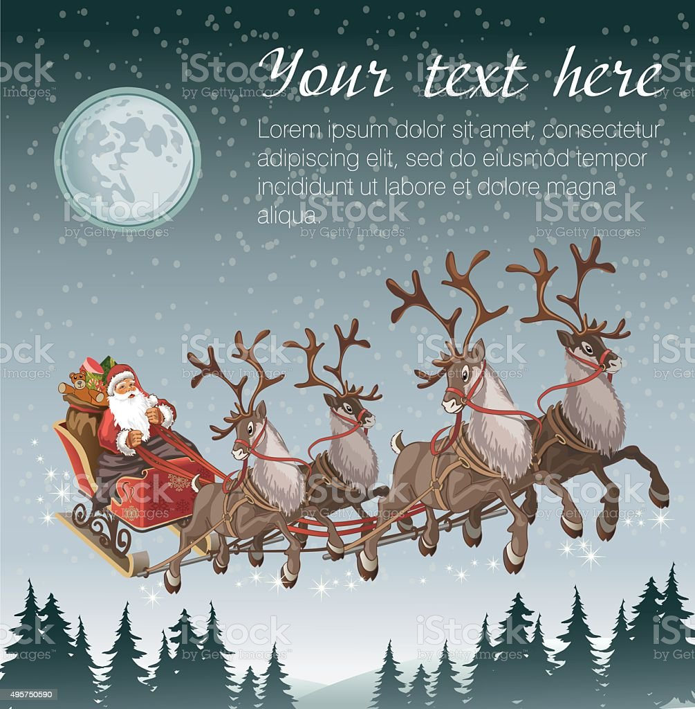 Christmas background with Santa driving his sleigh on winter night vector art illustration