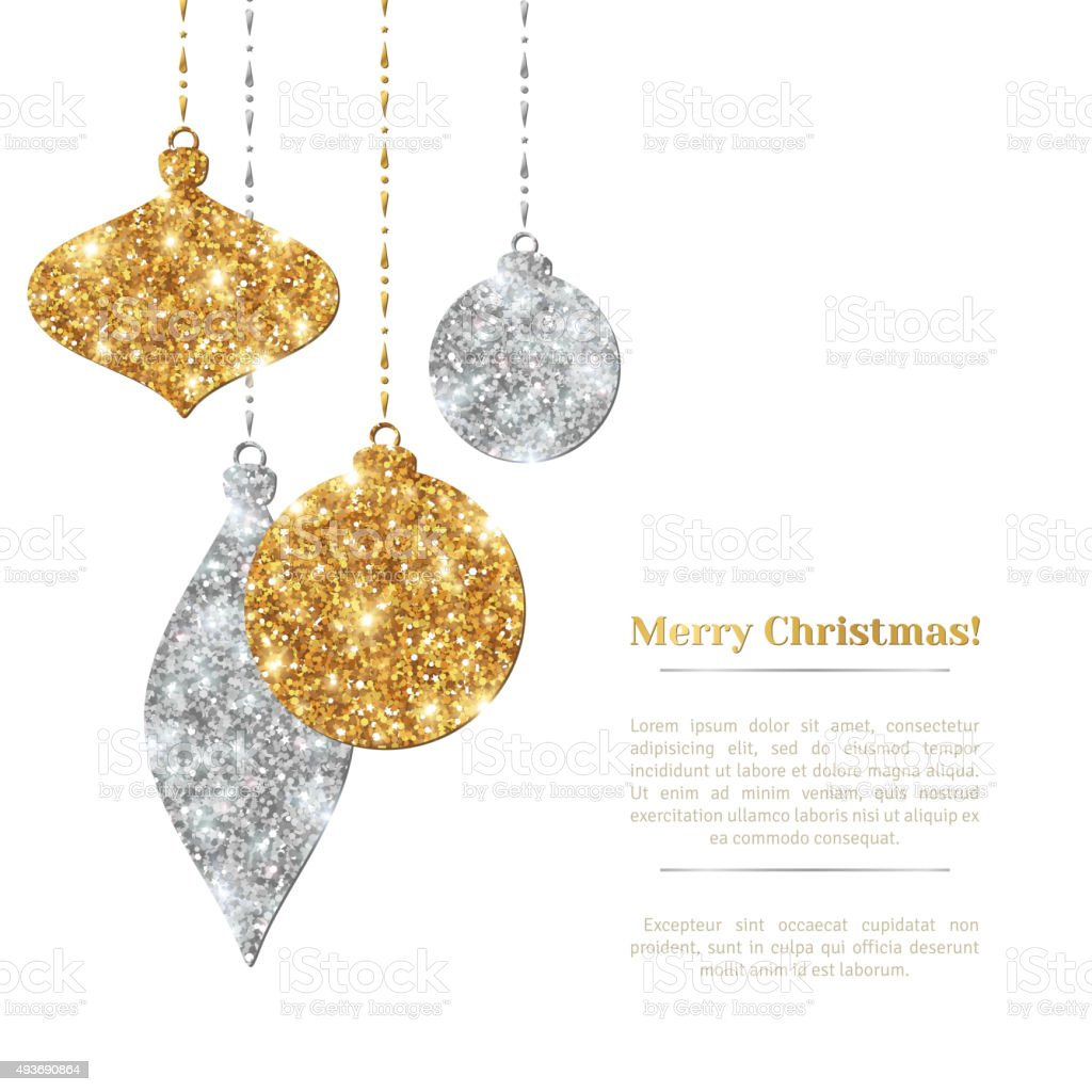 Christmas Background with Silver and Gold Hanging Baubles. vector art illustration