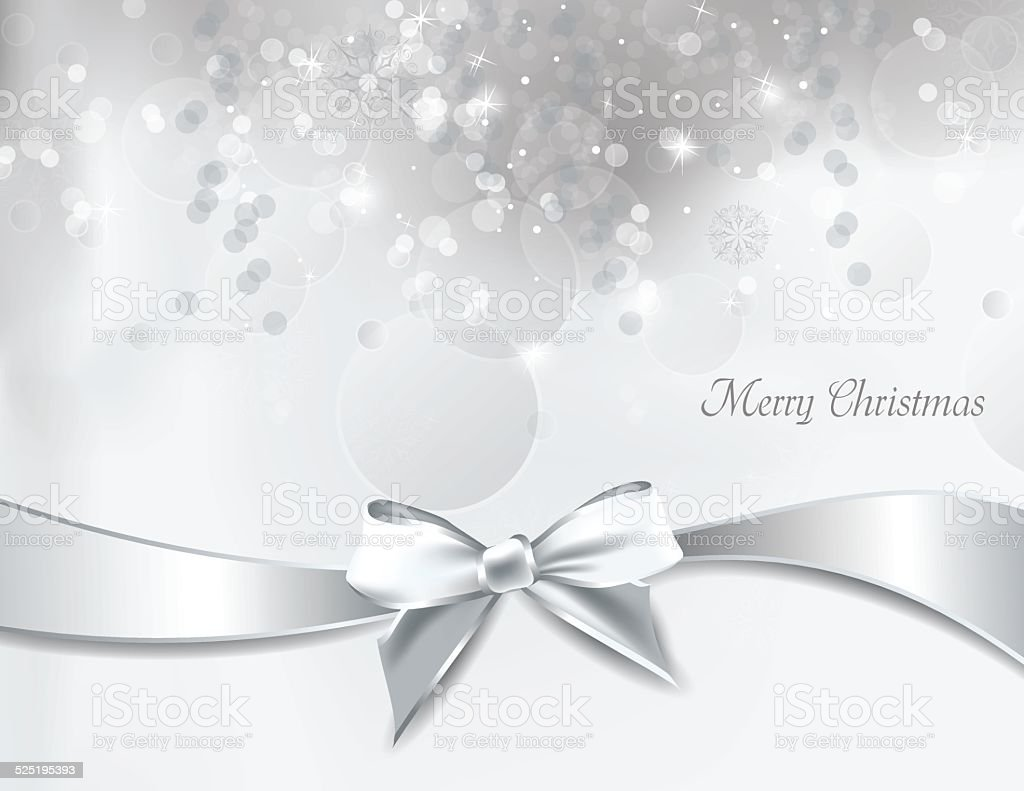 Christmas Background with Silver Bow. vector art illustration