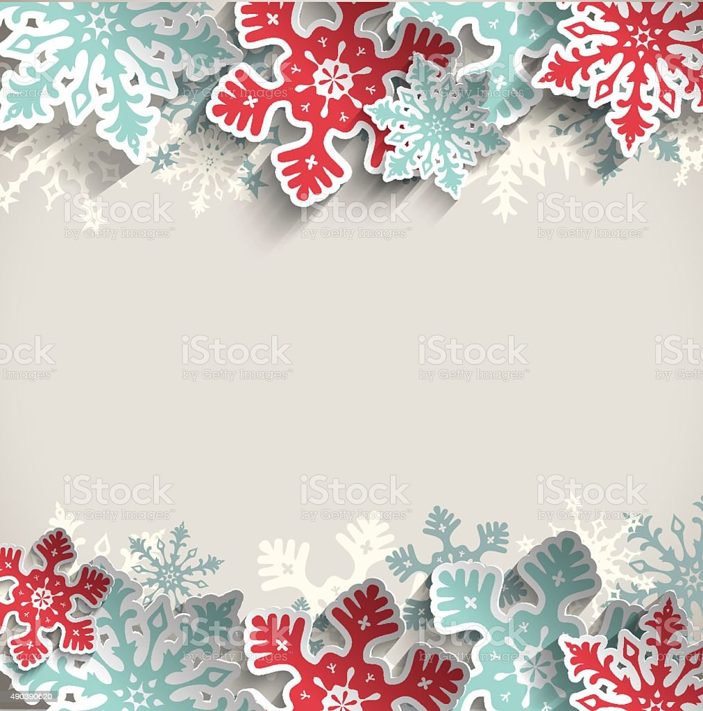 Christmas background with snowflakes, winter concept, illustration vector art illustration