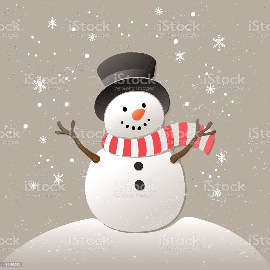 Christmas background with snowman. New year illustration. vector art illustration