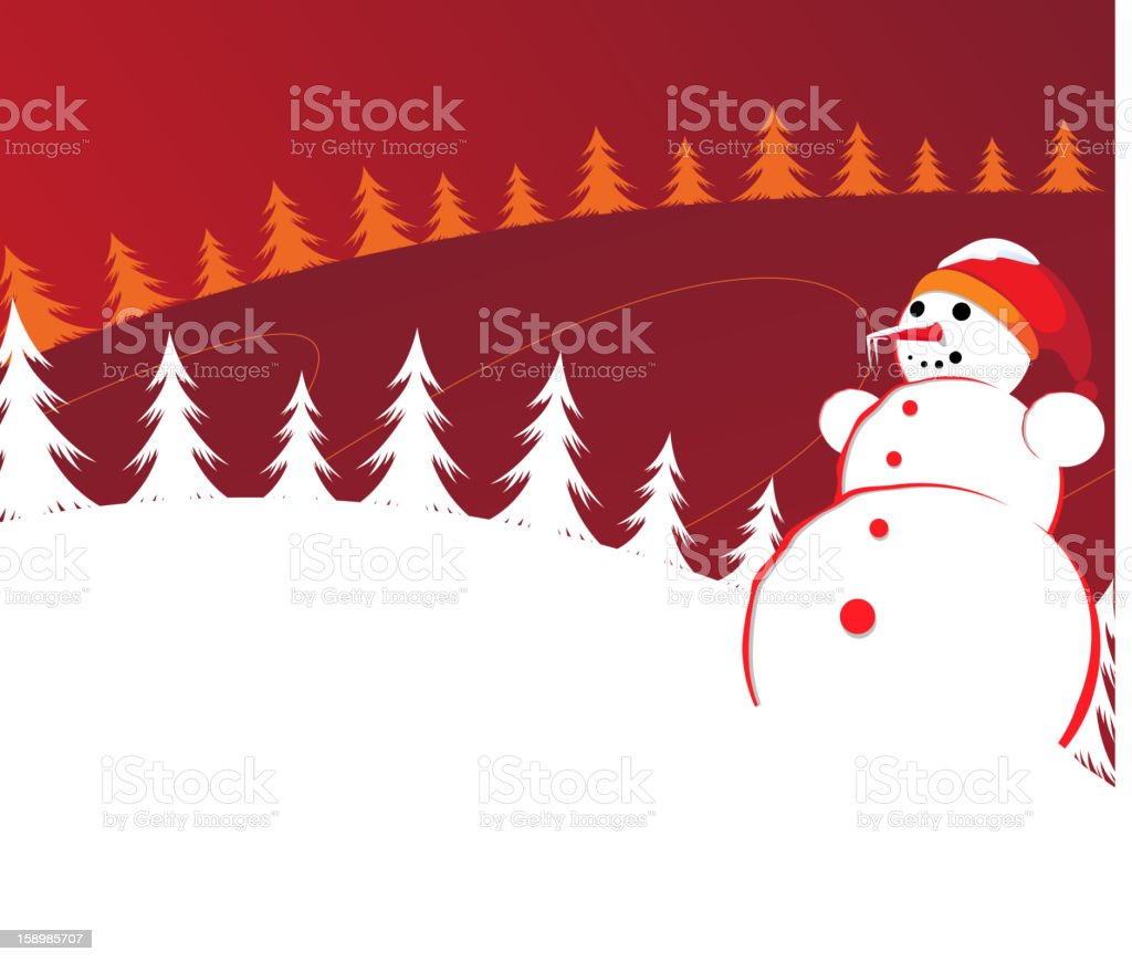 Christmas background with Snowman royalty-free stock vector art