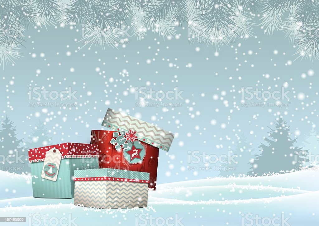 Christmas background with stack of colorful giftboxes, illustration vector art illustration