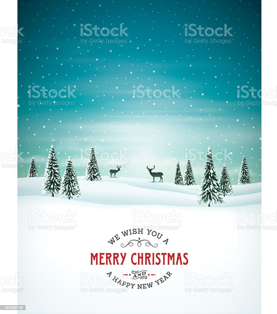 Christmas Background with Text vector art illustration