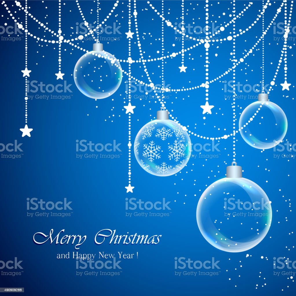 Christmas background with transparent balls vector art illustration
